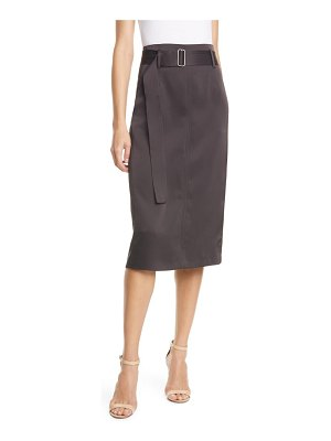 Judith & Charles bella belted satin pencil skirt