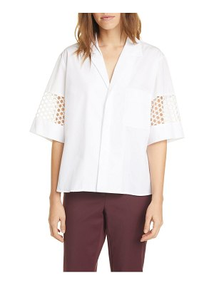 Judith & Charles lace inset cotton blouse