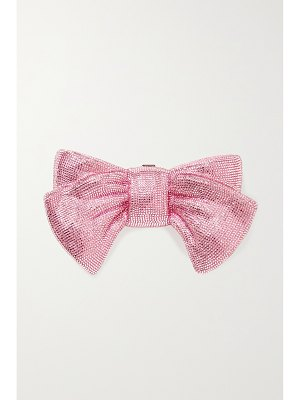 Judith Leiber Couture bow just for you crystal-embellished silver-tone clutch