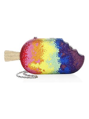 Judith Leiber Couture crystal rainbow popsicle clutch bag