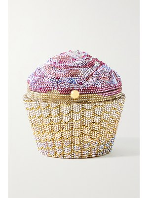 Judith Leiber Couture cupcake strawberry crystal-embellished gold-tone clutch