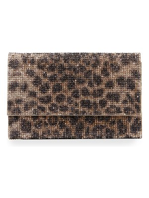 Judith Leiber Couture Fizzoni Leopard Clutch Bag with Crossbody Strap
