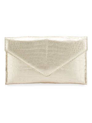 Judith Leiber Couture Flat Caiman Crocodile Envelope Clutch
