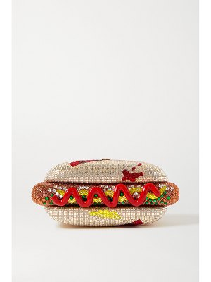 Judith Leiber Couture hot dog crystal-embellished gold-tone clutch