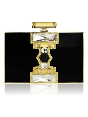 Judith Leiber Couture Jazz Age Ridged Rectangle Marble Resin Clutch Bag