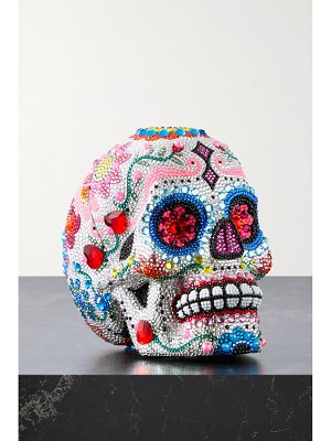 Judith Leiber Couture skull calavera crystal-embellished silver-tone clutch
