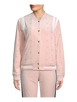 Juicy Couture Faux Pearl-Embellished Velour Bomber Jacket