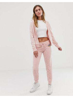 Juicy Couture black label velour cuffed sweatpants with rhinestone crest two-piece-pink