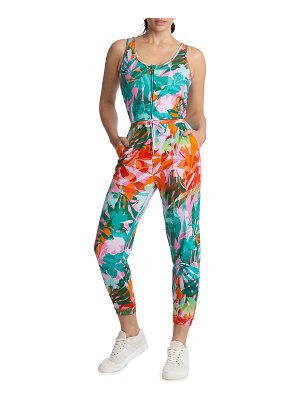 Juicy Couture Printed Zip-Front Cropped Jumpsuit