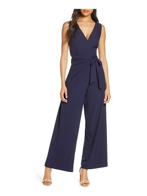 Julia Jordan faux wrap wide leg jumpsuit