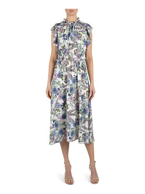 Julia Jordan floral high neck ruffle sleeve dress