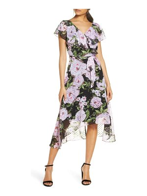 Julia Jordan floral print clip dot chiffon dress