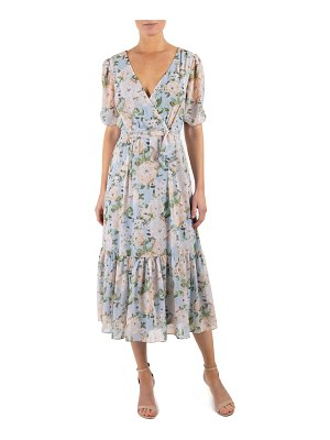 Julia Jordan floral wrap front ruffle hem dress