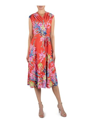 Julia Jordan floral wrap front sleeveless jersey dress
