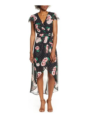 Julia Jordan high/low chiffon faux wrap dress