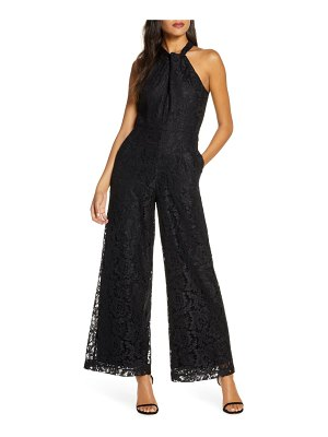 Julia Jordan wide leg lace halter jumpsuit
