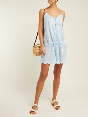 Juliet Dunn embroidered cotton slip dress