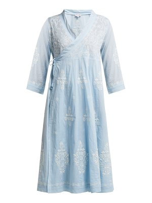Juliet Dunn embroidered cotton wrap dress