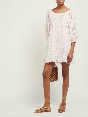 Juliet Dunn floral broderie anglaise cotton mini dress