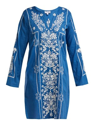 Juliet Dunn floral embroidered cotton kaftan