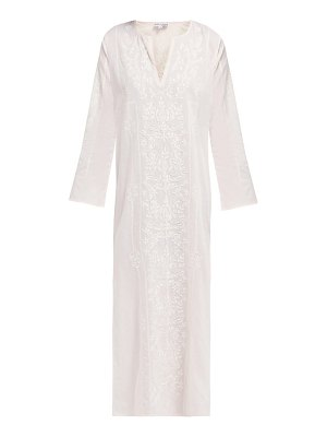Juliet Dunn floral embroidered cotton midi kaftan