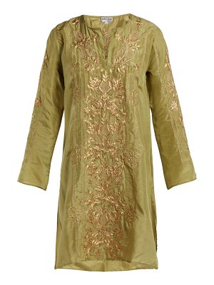 Juliet Dunn floral embroidered silk kaftan