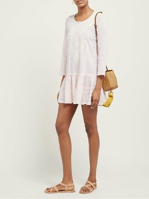 Juliet Dunn floral embroidered tiered cotton mini dress