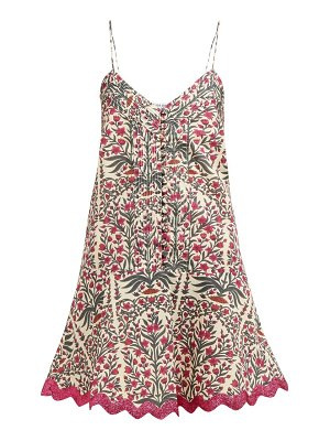 Juliet Dunn floral print rick rack trim cotton mini dress