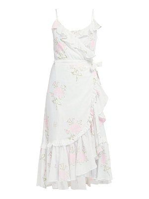 Juliet Dunn floral print ruffled cotton wrap dress