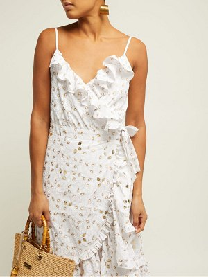 Juliet Dunn gold leaf print ruffled wrap dress