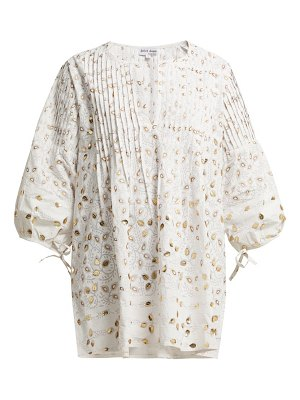 Juliet Dunn leaf embellished cotton blouse