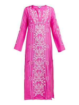 Juliet Dunn lotus embroidered silk satin kaftan