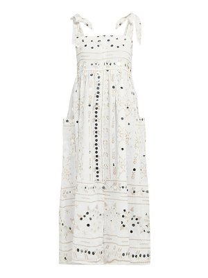 Juliet Dunn mirror work embroidered cotton midi dress