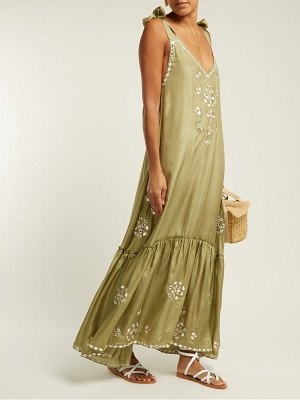 Juliet Dunn sequin embellished embroidered silk maxi dress