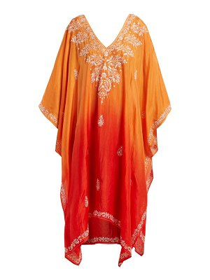 Juliet Dunn sequin embellished embroidered silk poncho