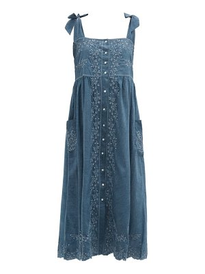 Juliet Dunn square-neck hand-embroidered cotton-chambray dress