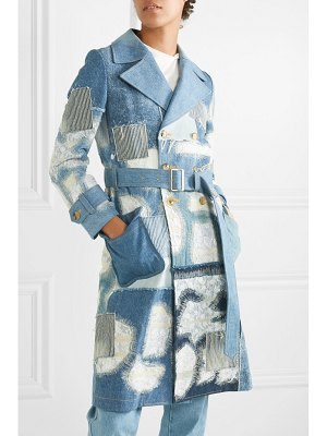Junya Watanabe lace-trimmed double-breasted patchwork denim coat