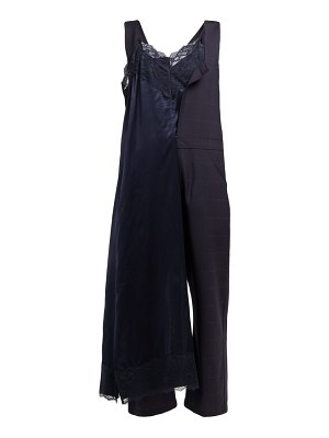Junya Watanabe lace trimmed slip overlay satin and wool jumpsuit
