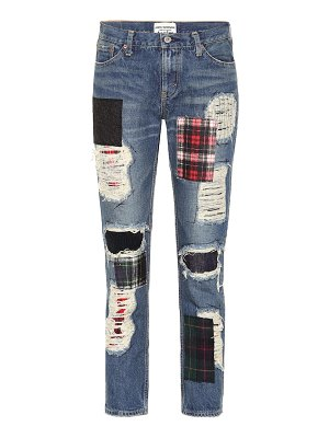 Junya Watanabe patchwork high-rise straight jeans