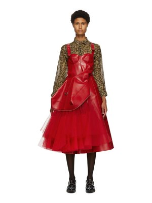 Junya Watanabe red faux-leather tulle dress