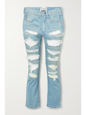 Junya Watanabe sequined distressed high-rise straight-leg jeans