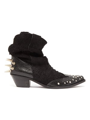 Junya Watanabe studded suede western ankle boots