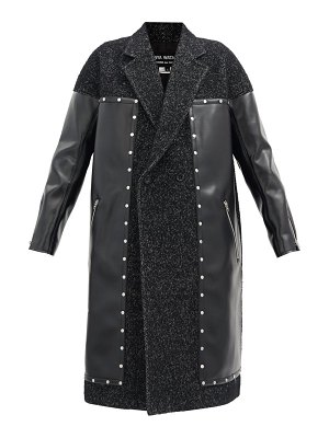 Junya Watanabe studded tweed and faux-leather coat