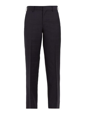 Junya Watanabe windowpane-check wool and mohair cropped trousers
