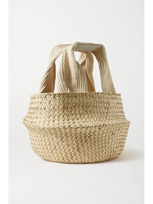 J.W.ANDERSON basket leather-trimmed woven raffia tote