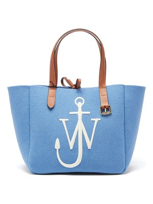 J.W.ANDERSON belt embroidered-anchor wool-felt tote bag