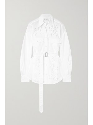 J.W.ANDERSON belted broderie anglaise cotton-poplin shirt