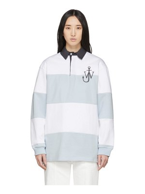 J.W.ANDERSON blue and white polo rugby polo