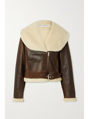 J.W.ANDERSON cropped shearling-trimmed leather jacket