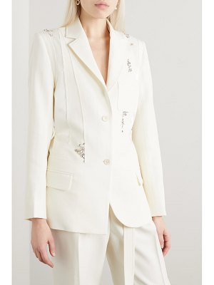 J.W.ANDERSON crystal-embellished paneled satin and wool-crepe blazer - off-white